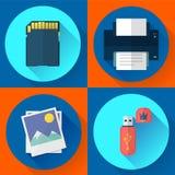 Fije los iconos del ordenador de vector de la impresión de la foto Imagen de archivo