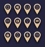 Fije los iconos del pictograma del negocio para el diseño su sitio web Imágenes de archivo libres de regalías