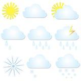 Fije los iconos del tiempo del vector El sol, la nube, la lluvia y la nieve Imágenes de archivo libres de regalías