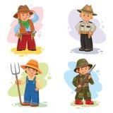 Fije los iconos del vector de diversas profesiones de los pequeños niños Fotos de archivo libres de regalías