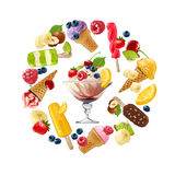 Fije los iconos del vector del helado Imagen de archivo libre de regalías