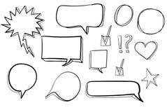 Fije los iconos dibujados mano 3d: la marca de verificación, estrella, corazón, discurso burbujea Vector negro ilustración del vector