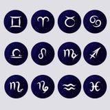 Fije los iconos - ejemplos en el tema del zodiaco Imagen de archivo