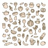 Fije los iconos en el tema de la comida, de diversos platos y de las cocinas Imágenes de archivo libres de regalías