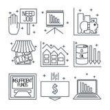 Fije los iconos en un tema de la crisis económica Imagenes de archivo