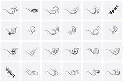 Fije los iconos fútbol, tenis, béisbol, baloncesto, fútbol, voleibol, golf, hockey, floorball y muchos otros de los deportes libre illustration