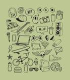 Fije los iconos para el adolescente Adolescentes que se divierten Vida de las adolescencias del muchacho Garabatea los elementos  stock de ilustración