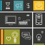 Fije los iconos para el negocio, Internet y la comunicación Fotografía de archivo libre de regalías