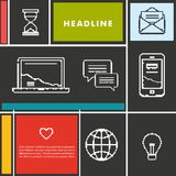 Fije los iconos para el negocio, Internet y la comunicación Imagenes de archivo