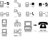 Fije los iconos. Red de ordenadores Imagenes de archivo