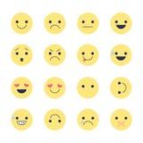 Fije los iconos sonrientes para los usos y la charla Emoticons con diversas emociones aislados en el fondo blanco Imágenes de archivo libres de regalías
