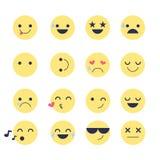 Fije los iconos sonrientes para los usos y la charla Emoticons con diversas emociones aislados en el fondo blanco Imagen de archivo libre de regalías