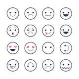 Fije los iconos sonrientes para los usos y la charla Emoticons con diversas emociones aislados en el fondo blanco Fotografía de archivo libre de regalías