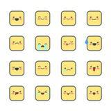 Fije los iconos sonrientes para los usos y la charla Emoticons con diversas emociones aislados en el fondo blanco Imagenes de archivo