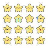 Fije los iconos sonrientes para los usos y la charla Emoticons con diversas emociones aislados en el fondo blanco Foto de archivo libre de regalías