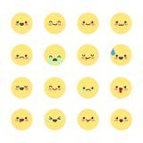 Fije los iconos sonrientes para los usos y la charla Emoticons con diversas emociones aislados en el fondo blanco Ilustración del Imagenes de archivo