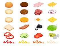 Fije los ingredientes isométricos de la hamburguesa del constructor del vector y los bollos de la hamburguesa aislados en el fond libre illustration