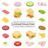 Fije los ingredientes isométricos del bocadillo y de la hamburguesa del constructor del vector Fotografía de archivo