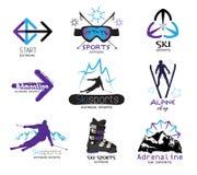 Fije los logotipos del deporte del esquí, emblemas, etiquetas Foto de archivo libre de regalías