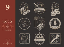 Fije los logotipos y Badges música rap Fotos de archivo libres de regalías