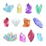 Fije los minerales coloreados, cristales, gemas, diamante Foto de archivo libre de regalías