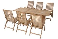 Fije los muebles del jardín de la teca, sistema de los muebles del jardín Fotografía de archivo libre de regalías