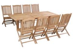 Fije los muebles del jardín de la teca, sistema de los muebles del jardín Imágenes de archivo libres de regalías