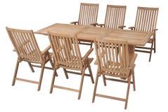 Fije los muebles del jardín de la teca, sistema de los muebles del jardín Fotografía de archivo