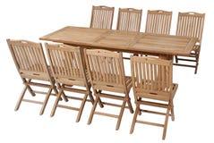 Fije los muebles del jardín de la teca, sistema de los muebles del jardín Imagen de archivo libre de regalías