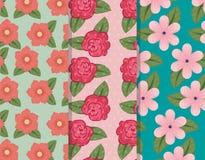 Fije los pantalones de las flores con los pétalos y el fondo de las hojas stock de ilustración