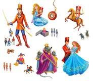 Fije los personajes de dibujos animados para el cascanueces del cuento de hadas Foto de archivo
