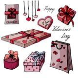 Fije los presentes para el día de tarjeta del día de San Valentín stock de ilustración