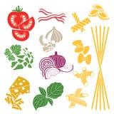 fije los productos Modelo inconsútil Pastas y verduras Foto de archivo libre de regalías