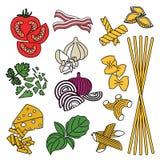 fije los productos Modelo inconsútil Pastas y verduras Confeccionado Imágenes de archivo libres de regalías