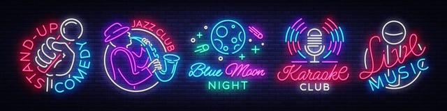 Fije los símbolos de las señales de neón Live Music, Jazz Music, club de noche de la luna azul, Karaoke, se levanta logotipos y e ilustración del vector