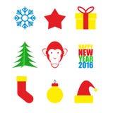 Fije los símbolos del Año Nuevo Árbol de navidad y mono Copo de nieve a libre illustration