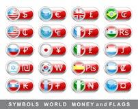 Fije los símbolos y los indicadores de dinero en circulación Imágenes de archivo libres de regalías