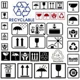Fije los símbolos de la caja de cartón Imagen de archivo