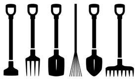 Fije los utensilios de jardinería aislados Imagenes de archivo