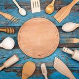 Fije los utensilios de la cocina Accesorios para cocinar Foto de archivo libre de regalías