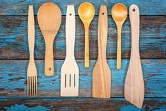 Fije los utensilios de la cocina Accesorios para cocinar Fotografía de archivo libre de regalías
