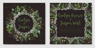 Fije para casarse la invitación, tarjeta de felicitación, fecha de la reserva, bandera Marco del vintage con la hoja, el boj, el  stock de ilustración