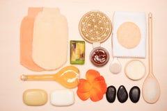 Fije para el cuidado del cuerpo de la piel, accesorios del baño Fotos de archivo