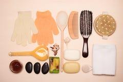Fije para el cuidado del cuerpo de la piel, accesorios del baño Fotografía de archivo libre de regalías