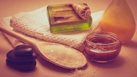 Fije para el cuidado del cuerpo de la piel, accesorios del baño Foto de archivo