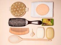 Fije para el cuidado del cuerpo de la piel, accesorios del baño Imagen de archivo libre de regalías