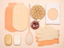 Fije para el cuidado del cuerpo de la piel, accesorios del baño Imagen de archivo