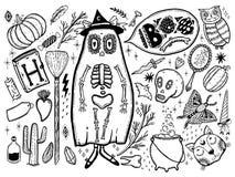 Fije para Halloween para el diseño de paisaje divertido Aislado en el fondo blanco Línea negra del elemento en el fondo blanco stock de ilustración