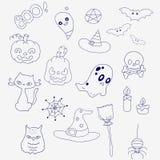 Fije para Halloween en estilo del garabato Fantasmas, calabazas y sombreros Imagenes de archivo