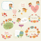 Fije para la enhorabuena con los caracteres lindos stock de ilustración